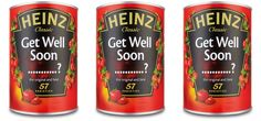 """{Personalized """"Get Well Soon"""" Soup?} What a creative idea. UK folk were able to send personalized soup cans to friends. Brilliant..."""