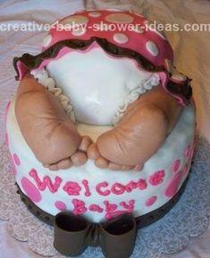 baby shower cakes ideas | baby rump cake sleeping baby with underwear showing under her pink ...
