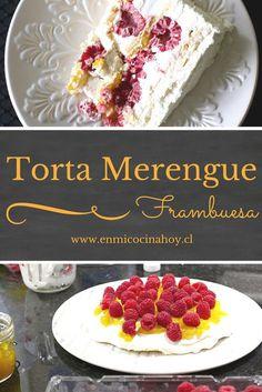 La torta merengue frambuesa es una de las más tradicionales y populares en Chile. Con mango o limón queda también deliciosa. Muy fresca para el verano. Merengue Cake, Sweet Recipes, Cake Recipes, Chilean Recipes, Chilean Food, Chilean Desserts, Cheesecake, Catering Food, English Food