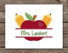 Apple Note Cards Teacher Pencil Notecards by PaperHouseDesigns