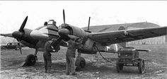 Checking the engine of the German attack aircraft Henschel Hs 129. Rather rare aircraft (produced 865 aircraft), used mainly on the Eastern Front from 1942 to 1945. Modification of Hs 129V-2 was armed with 75-mm anti-tank gun Pak-40.