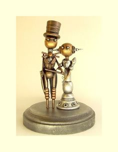 Elegant Robot Couple Wedding Cake Topper Space Princess Bride and Groom with Top Hat and Tails Wood Statues with Base