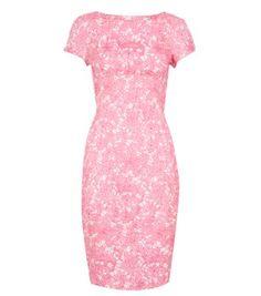 Pink Floral Jacquard Lace Pencil Dress