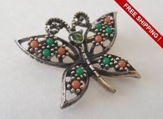 Vintage Butterfly Marcasite Signed Brooch/Pin by VintageSistersx2