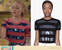 Carrie's pink and blue sequin-striped top on The Carrie Diaries. Outfit Details: http://wornontv.net/21712 #TheCarrieDiaries