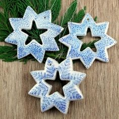 DIY Snowflake Ornaments - See how to make these salt dough snowflake ornaments for your Christmas tree.