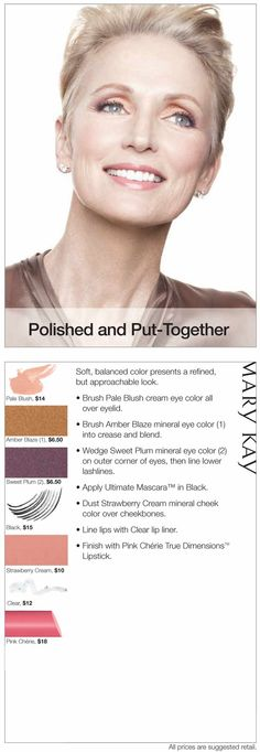 Soft, balanced color is refined, but approachable in this Polished and Put-Together look.http://www.marykay.com/jgutkowski