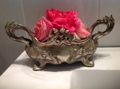 Antique French Table Centrepiece. Silver Metal with original metal insert. French Romantic shabby Chic. Art Nouveau, Louis XV Style. by fleursenfrance. Explore more products on http://fleursenfrance.etsy.com