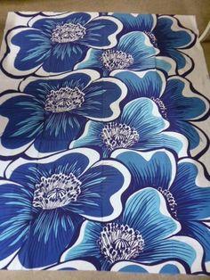 "Tampella Finland Marjatta Metsovaara ""Kamelia"" Vintage Fabric Floral Blue | eBay"