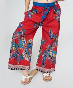 Look at this #zulilyfind! Red Butterfly Palazzo Pants - Toddler & Girls #zulilyfinds