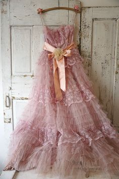 Faded pink tulle Lace dress wall hanging by AnitaSperoDesign