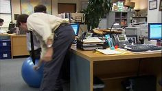 That deflating feeling that comes from a fitness ball chair that suddenly isn't. #TheOffice