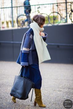 oversized blanket scarf and knee high boots