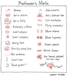 Proofreader's Marks - I adore this. lol