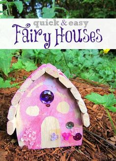 fairy craft - make fairy houses with premade bird houses.
