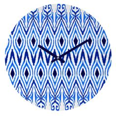 Amy Sia Ikat Blue Round Clock | DENY Designs Home Accessories