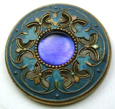 Antique Gay 90s Button Blue Jewel w/ Fancy Painted Pierced Brass Border 1 & 3/16