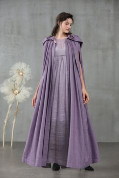 EmmaJean would love this. maxi hooded cape, wool cape in violet Hooded Wool Coat, Hooded Cloak, Hooded Capes, Lilac Dress, Dress Up, Grey Maxi, Wool Cape, Fantasy Dress, Mode Inspiration