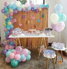 Ideas for baby shower girl with balloons, themes for baby shower girl 2019 - 2 . - Ideas for baby shower girl with balloons, Baby shower themes 2019 – 2020 favorites and more moder - Idee Baby Shower, Shower Bebe, Girl Shower, Baby Shower Themes, Baby Shower Decorations, Shower Ideas, Unicorn Birthday Parties, Unicorn Party, Baby Birthday