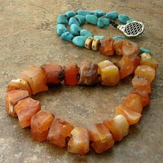 Turquoise and Carnelian Knotted Necklace.