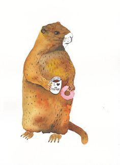 MARMOT with DONUT and COFFEE- Original watercolor painting- Animal illustration…