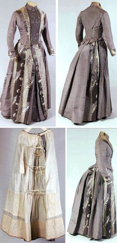 Day gown ca. 1880-85. Gray ribbed silk, silk satin, & silk damask. Bodice & skirt lined in white cotton satin and silk twill. May have been remade from an older gown. Mode Museum, Antwerp