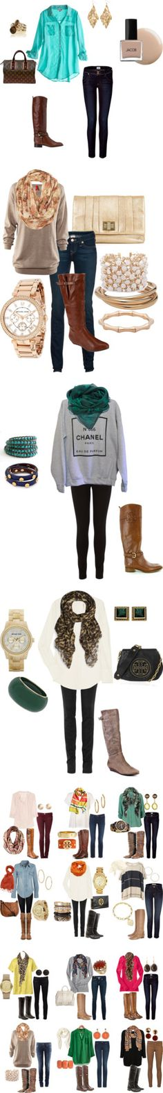 Fall outfits with tall boots.
