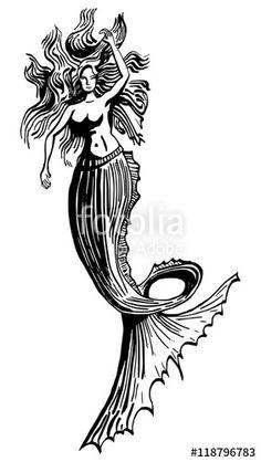 Zwart wit illustratie van zeemeermin. #meermin #zeemeermin #pentekening #inkt #inkttekening #kunst #tattoo #tatoeage