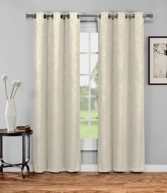 "Warm Home Designs 1 Pair of 38"" Ivory Insulated Thermal Blackout Energy Efficient Curtains"