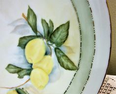 Plate Hand Painted Lemons Porcelain Ceramic Pottery Kitchen Home Decor Serving blm by PorcelainChinaArt on Etsy