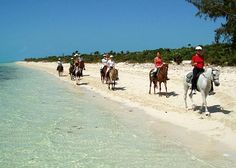 Horseback riding on Long Bay Beach on Providenciales (Provo), Turks and Caicos Islands >> Not sure I can get my husband into this, but come on, horses on the beach... so ooh la la!