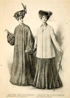 1904 Print Fashion Costume Clothing Dress Coat Edwardian Women Portrait Hat Cane | eBay