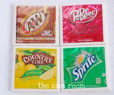 Soda can coasters. Love this idea!! Here is the tutorial http://go.tipjunkie.com/hm/1032/www.theidearoom.net/2011/06/diy-soda-can-coasters.html