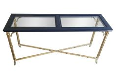 Navy & Brass  Faux-Bamboo Console