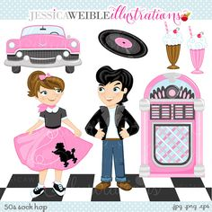 50s Sock Hop Cute Digital Clipart for por JWIllustrations en Etsy