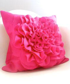 Eco friendly felt magenta peony cupcake fluff flower pillow cover. $35.00, via Etsy.