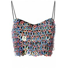 Multi Sequin Embellished Bralet ($53) ❤ liked on Polyvore featuring tops, daisy cleveland, white top, bralet tops, sequin top, white bralet top and bralet crop top