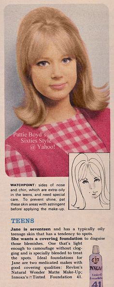 "Pattie Boyd as fictional ""Jane"" represents TEENS in UK Woman magazine's beauty article about make-up for various skin types in their February 22, 1964 issue."