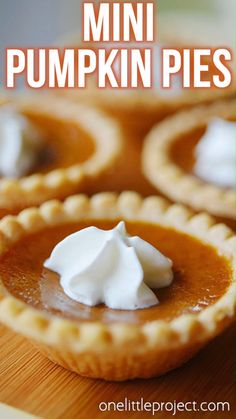 cream dessert recipes, fresh peach dessert recipes, dessert recipes for parties - Mini Pumpkin Pies Recipe! These are so easy and you might actually have room to try more than one dessert! Such a great idea! Mini Pumpkin Pies, Pumpkin Pie Recipes, Mini Pies, Fall Recipes, Holiday Recipes, Pumpkin Tarts, Mini Pie Recipes, Pumpkin Pie Cupcakes, Pumpkin Pumpkin
