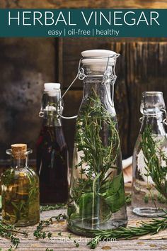 Herb vinegar is so easy to make, versatile, and cheap. Perfect for marinades, salad dressings, and they make beautiful gifts. WFPB and oil-free.
