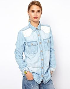 Enlarge Selected Denim Shirt with Quilted Shoulders
