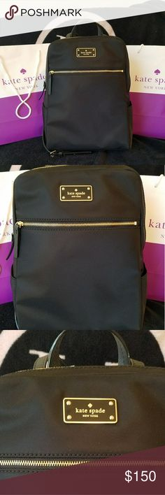 """NWT Kate Spade Hilo backpack NWT Kate Spade Hilo backpack. Gold tone hardware, zip around closure. Has 2 slip pockets on the outside-1 on each side. Length:9"""", height 12"""", width: 5"""". **Sorry, no trades. Please do not post offers in comments ** FIRST REASONABLE OFFER TAKES IT!! kate spade Bags Backpacks"""
