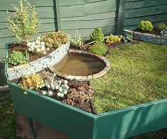 cool mini garden with water feature