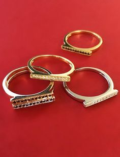 Bringing it back! These bar rings are perfect for stacking alone or with other styles! #diamonds #rings #danarebecca