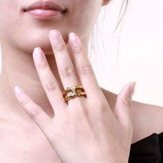 Anel Feminino Clássico Geometria Banhado a ouro Banhado a ouro rosa Cobre Zircão Festa - KZCR250-A-8