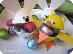 Easter Bunny & Duck Egg Carton Candy Cups.  Your kids will love making and filling their own candy cups, and you will already have most of the supplies on hand!
