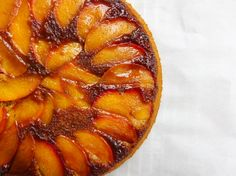An easy, vegan nectarine upside-down cake recipe. Made with whole grain flour and fresh summer nectarines, caramelized in coconut oil.