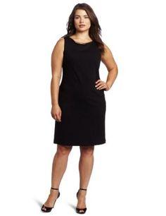 Calvin Klein Women's Plus-Size Seam Dress With Neck Hardware: Clothing