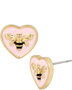 EXCLUSIVE BETSEYS BEE HEART STUDS PINK accessories jewelry earrings fashion