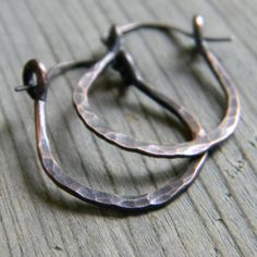 Rustic Hammered Copper and Sterling Silver Hoop Style Earrings - Hammer Forged Jewellery